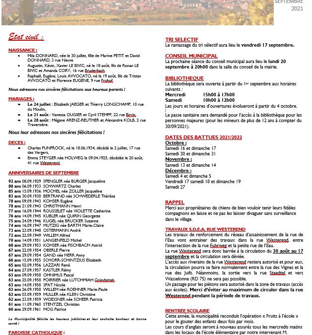Bulletin d'actualité, septembre 2021